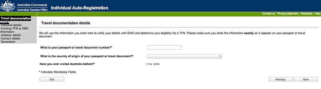 faire sa demande de tax file number