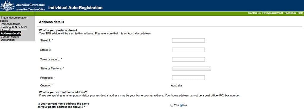 votre adresse pour le tax file number